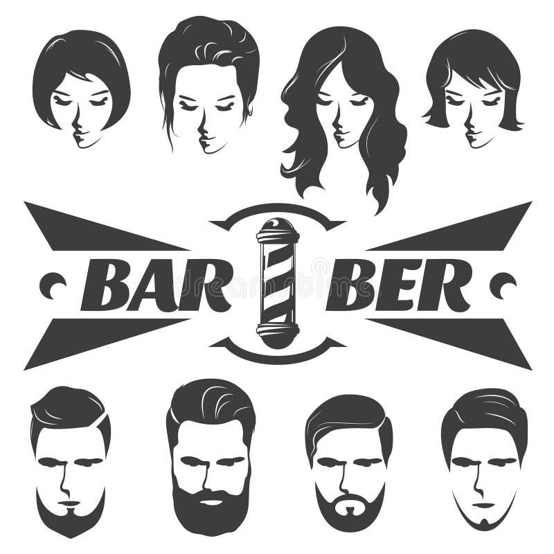 Iconos masculinos y femeninos del gráfico de los peinados ilustración del vector