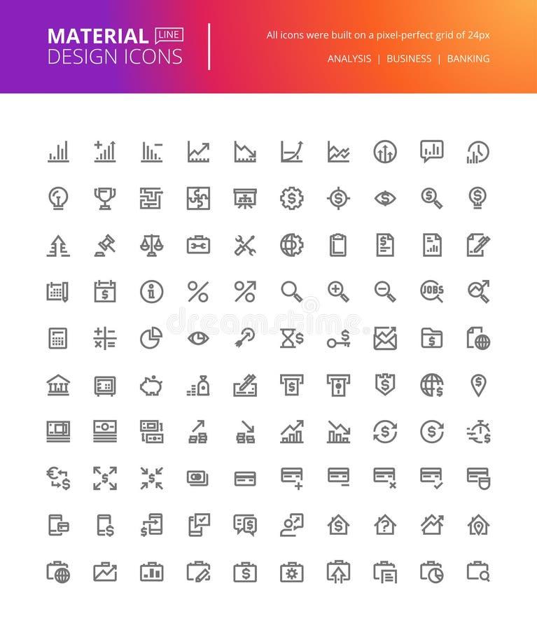 Iconos materiales de las finanzas y de las actividades bancarias del diseño fijados