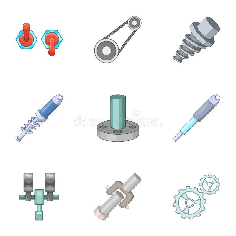 Iconos mecánicos y eléctricos de las piezas fijados ilustración del vector