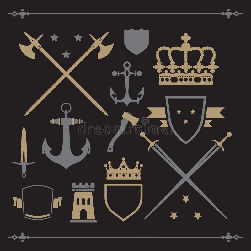 Iconos medievales stock de ilustración
