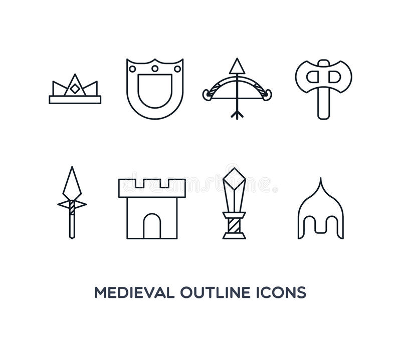 Iconos medievales del esquema foto de archivo