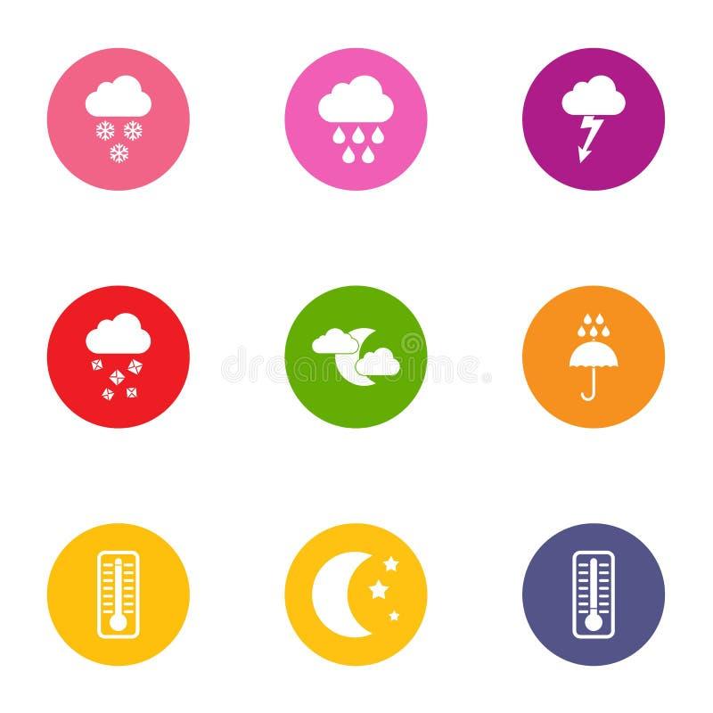 Iconos mejorados fijados, estilo plano del tiempo stock de ilustración