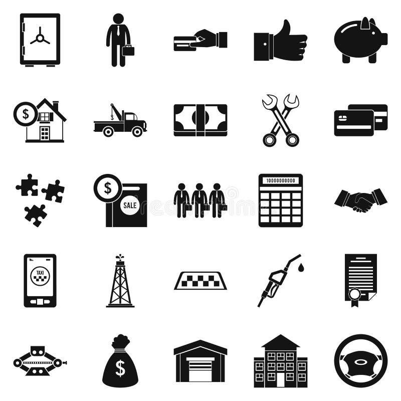 Iconos mercantil fijados, estilo simple stock de ilustración