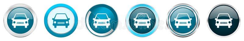 Iconos metálicos de plata de la frontera del cromo del coche en 6 opciones, sistema de botones redondos azules de la web aislados ilustración del vector