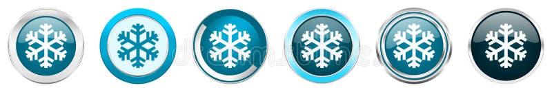 Iconos metálicos de plata de la frontera del cromo de la nieve en 6 opciones, fijadas de los botones redondos azules de la web ai stock de ilustración