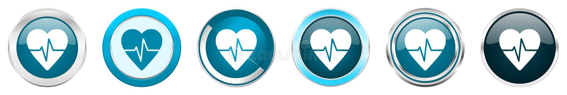Iconos metálicos de plata de la frontera del cromo del pulso en 6 opciones, fijadas de los botones redondos azules de la web aisl ilustración del vector