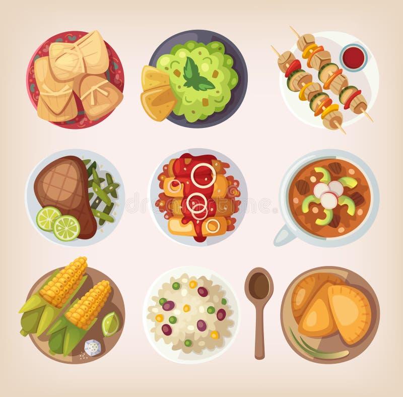 Iconos mexicanos del alimento ilustración del vector