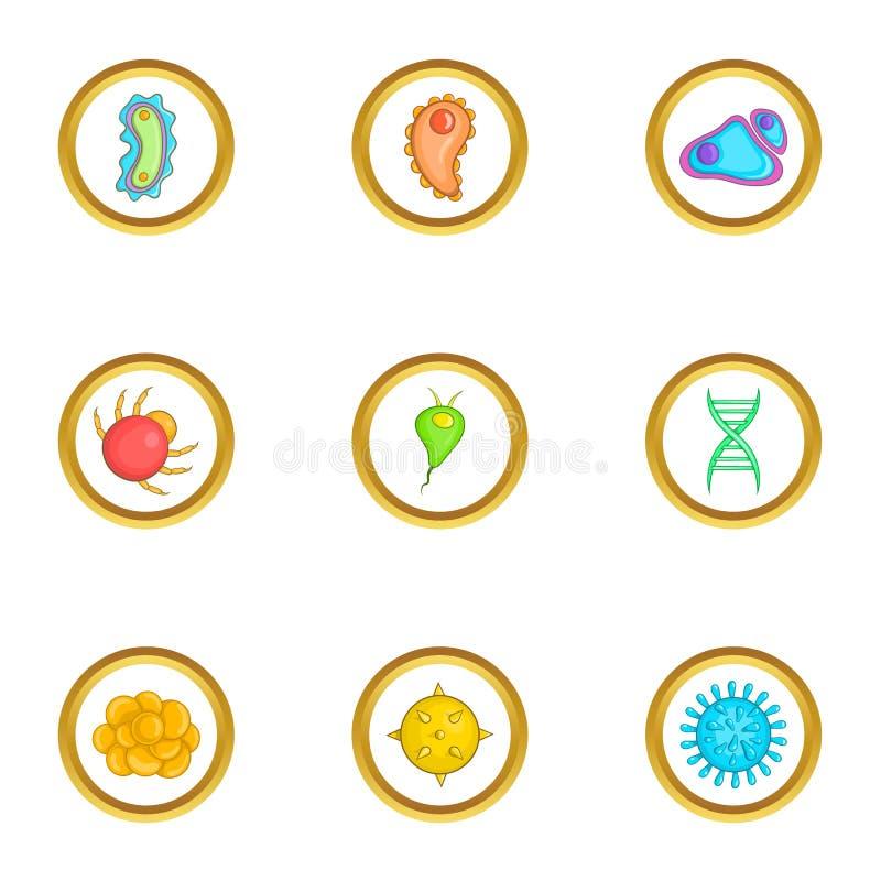 Iconos micro fijados, estilo del organismo de la historieta ilustración del vector