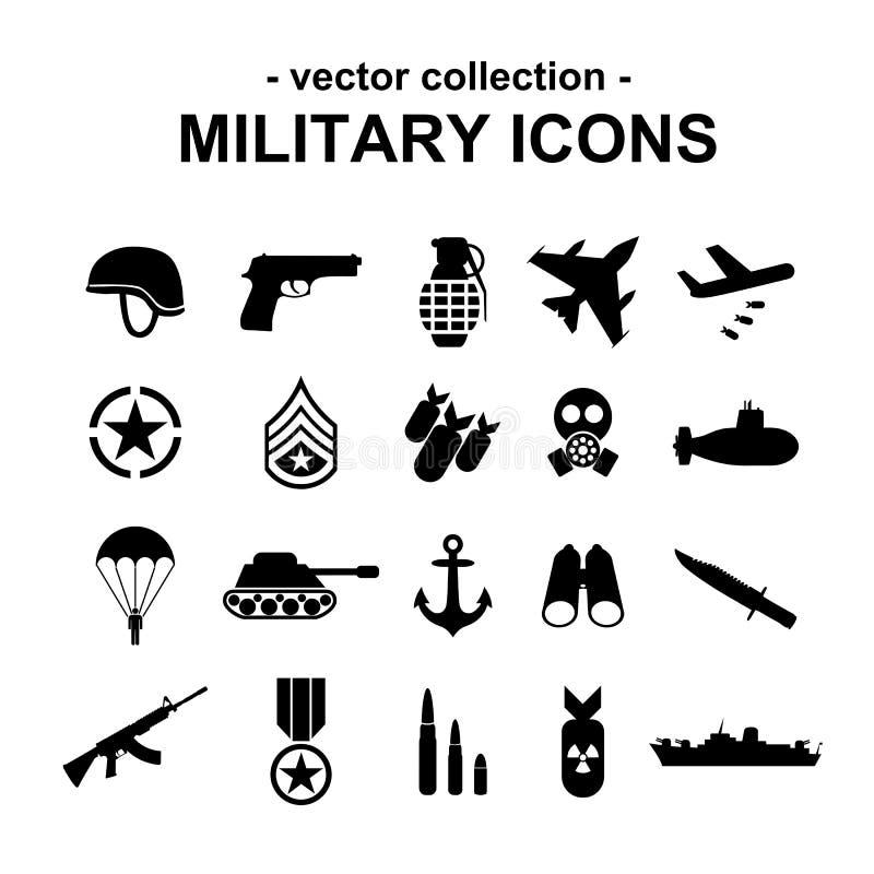 Iconos militares stock de ilustración