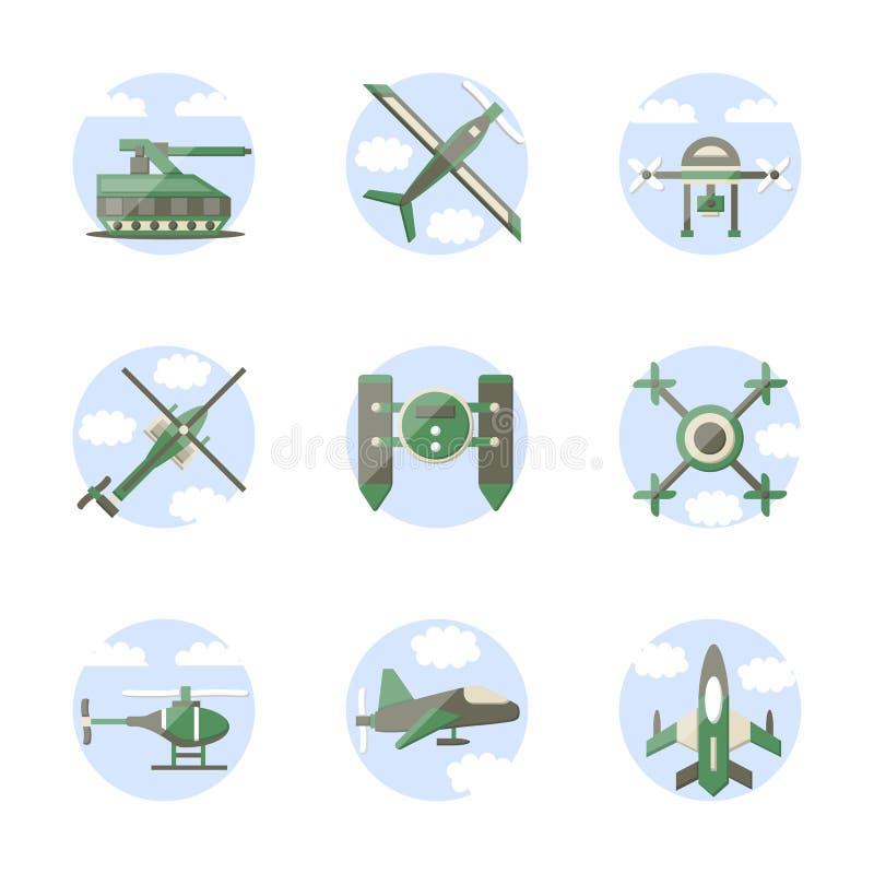 Iconos militares de los robots del estilo plano del color stock de ilustración