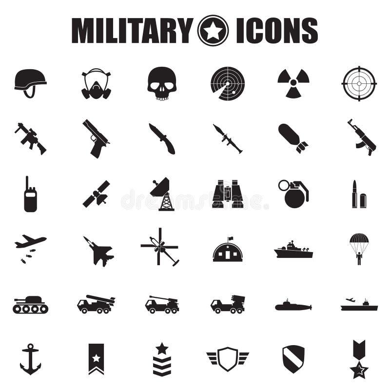 Iconos militares fijados ilustración del vector