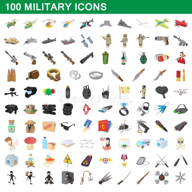 100 iconos militares fijados, estilo de la historieta ilustración del vector