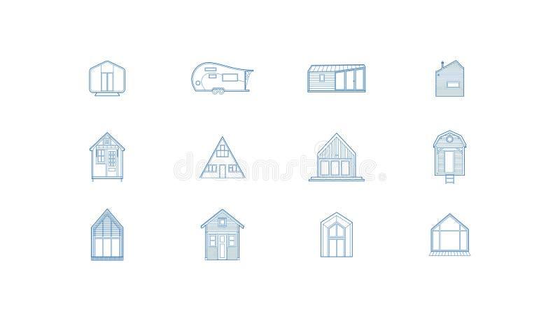 12 iconos minúsculos de la casa stock de ilustración