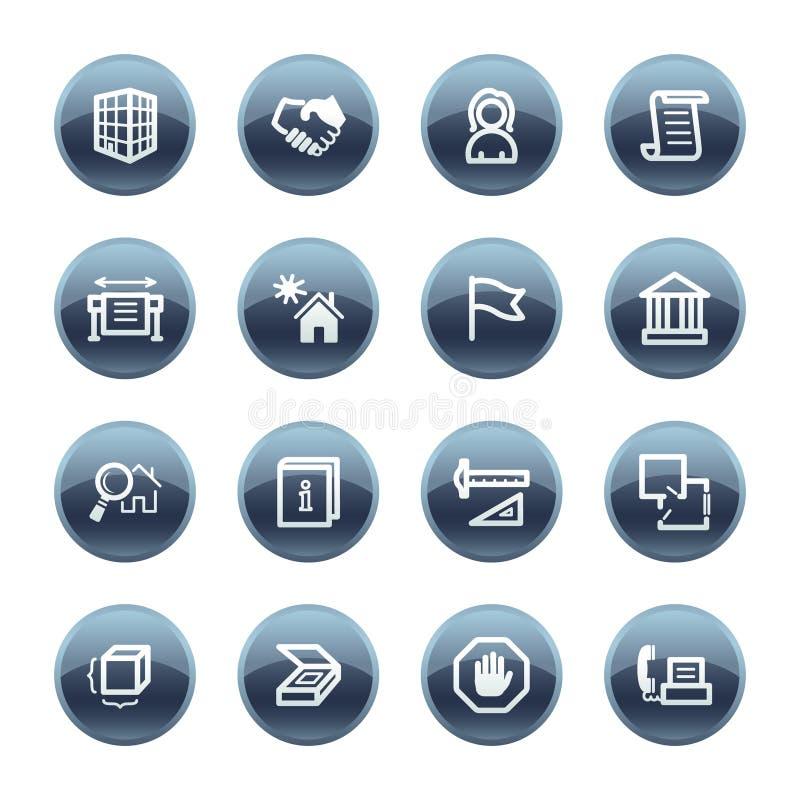 Iconos minerales del edificio de la gota stock de ilustración