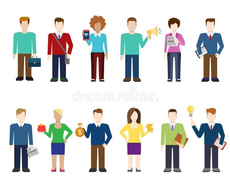 Iconos modernos de la gente del vector plano, trabajador profesional, forma de vida stock de ilustración
