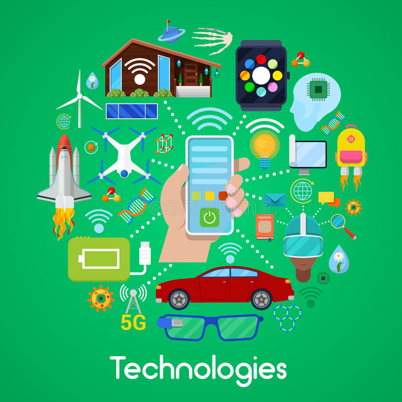 Iconos modernos de las tecnologías fijados con la casa elegante y Quadrocopter libre illustration