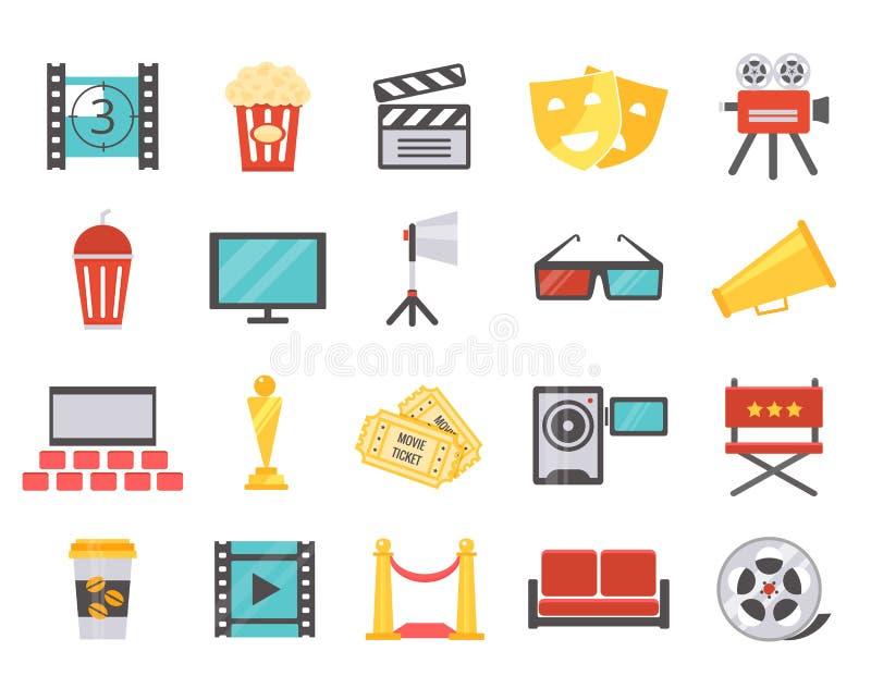 Iconos modernos del cine en estilo plano stock de ilustración