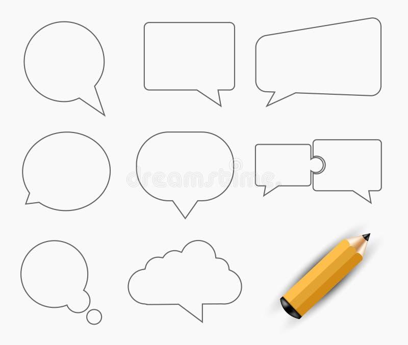 Iconos modernos del discurso de la burbuja del vector fijados libre illustration