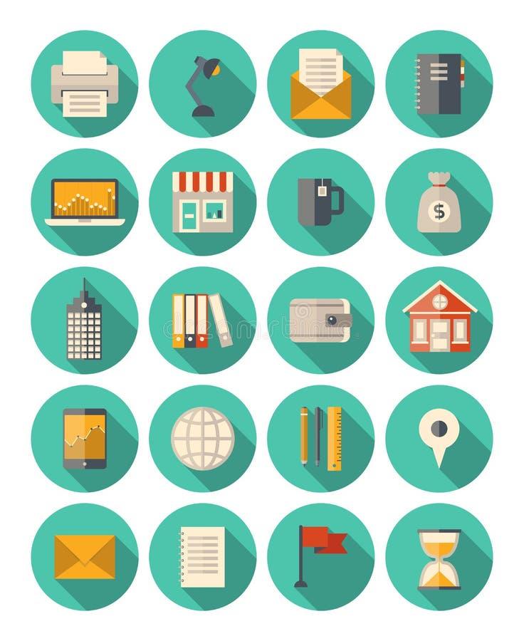Iconos modernos del negocio y de las finanzas fijados ilustración del vector