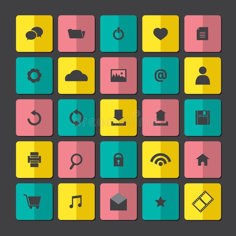 Iconos modernos del sitio web fijados ilustración del vector