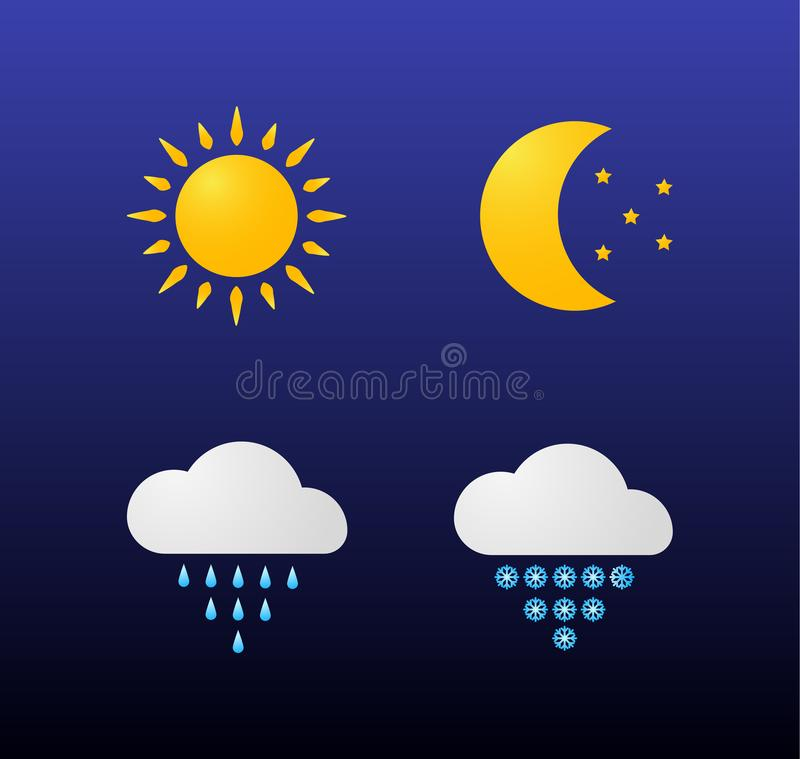 Iconos modernos del tiempo fijados Símbolos planos del vector en fondo oscuro Sun, luna, estrellas, nubes, lluvia, nieve ilustración del vector