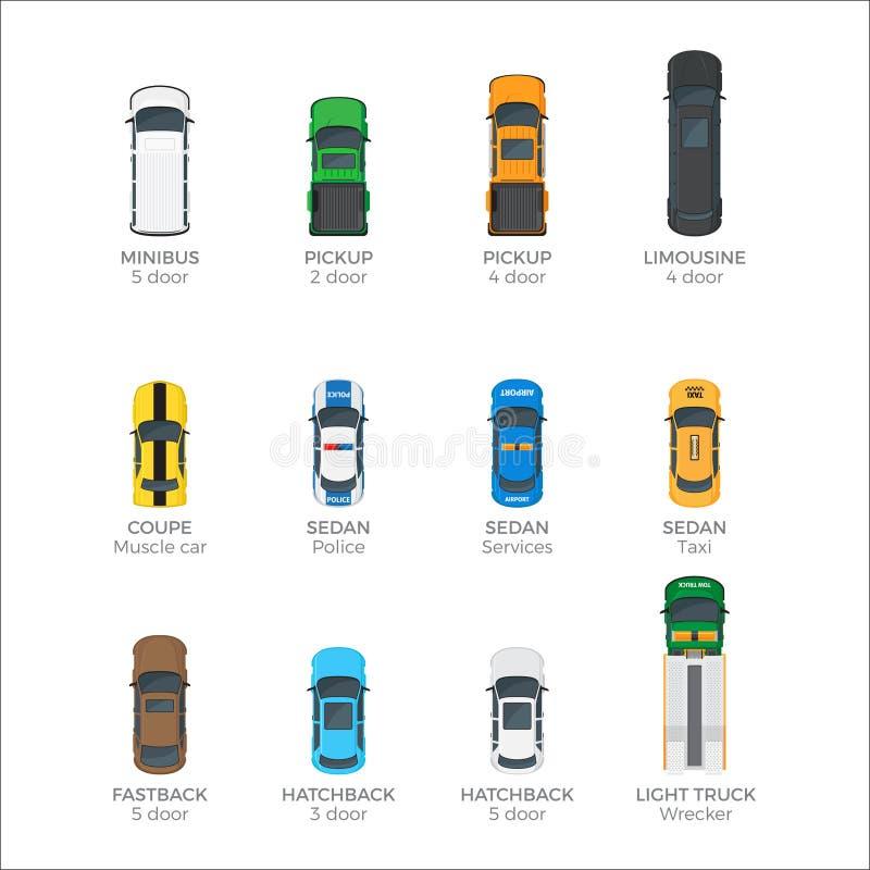Iconos modernos del vector de la opinión superior del transporte del vehículo fijados libre illustration