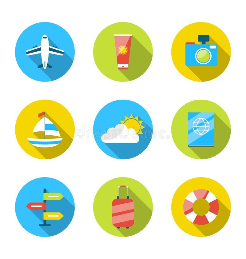 Iconos modernos planos del sistema de viajar, vacaciones de verano de planificación, a ilustración del vector