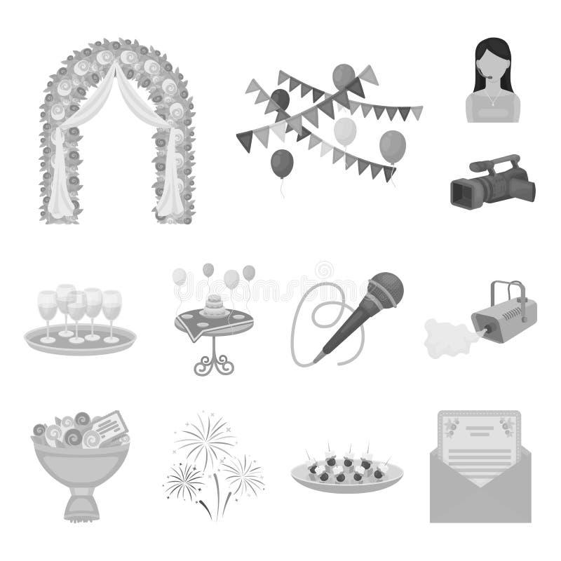 Iconos monocromáticos de la organización del evento en la colección del sistema para el diseño Web de la acción del símbolo del v ilustración del vector