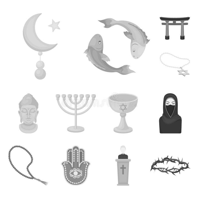 Iconos monocromáticos de la religión y de la creencia en la colección del sistema para el diseño Accesorios, web de la acción del stock de ilustración