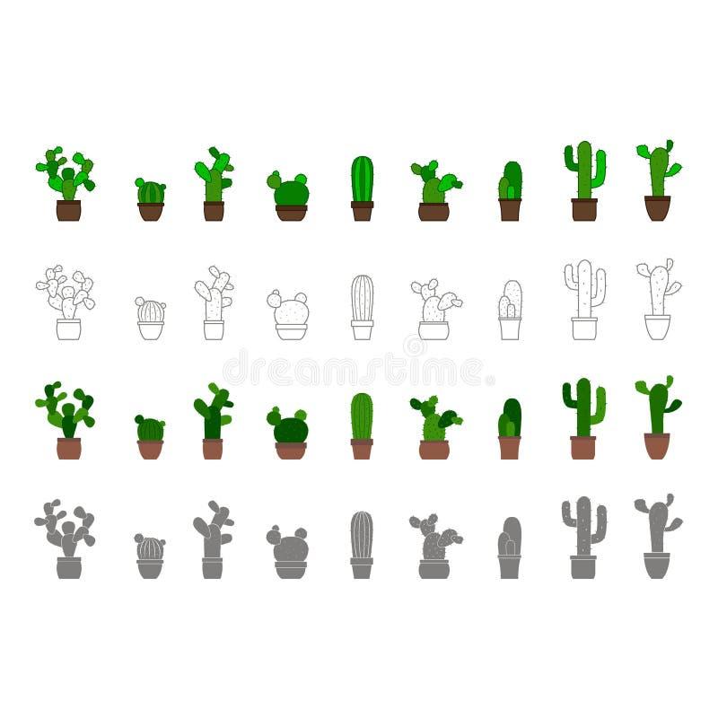 Iconos monocromáticos del vector con el cactus stock de ilustración
