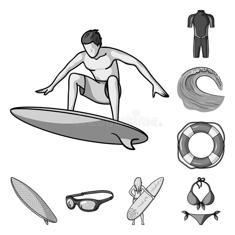 Iconos monocromáticos que practican surf y extremos en la colección del sistema para el diseño Web de la acción del símbolo del v stock de ilustración