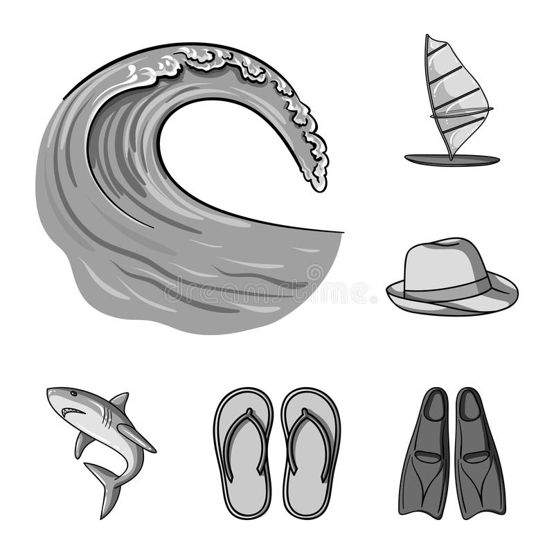 Iconos monocromáticos que practican surf y extremos en la colección del sistema para el diseño Web de la acción del símbolo del v ilustración del vector