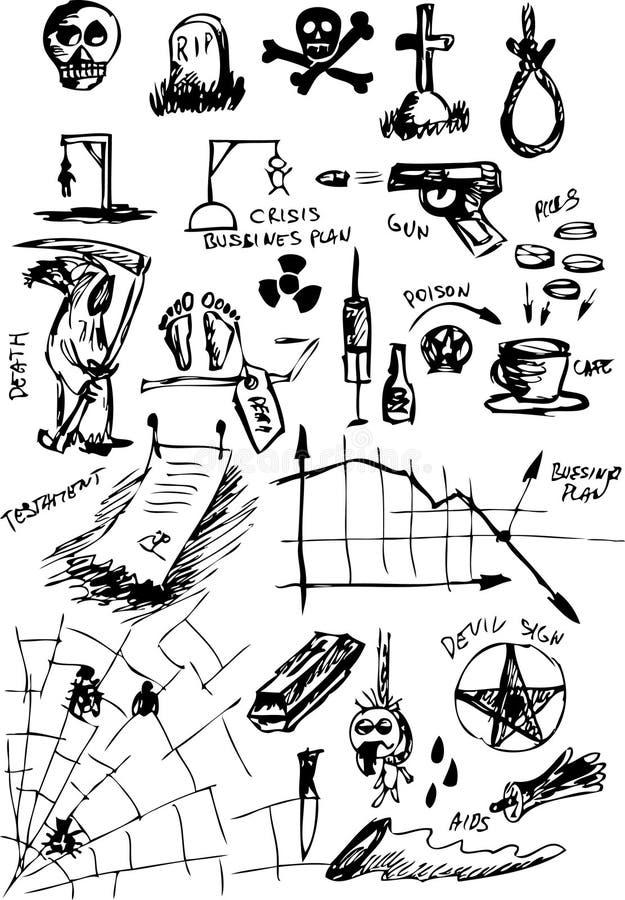 Iconos muertos ilustración del vector
