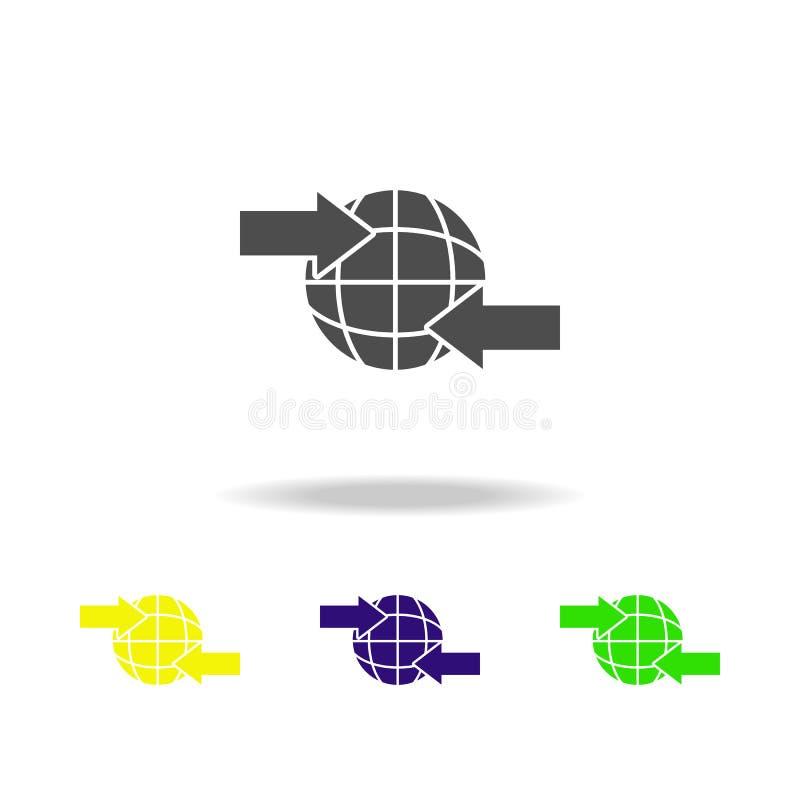 Iconos multicolores de la flecha y del globo Muestras e icono para los sitios web, diseño web, app móvil de la colección de los s ilustración del vector