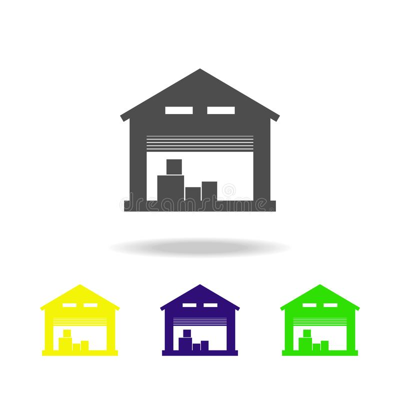 iconos multicolores del almacén de almacenamiento Muestras e icono para los sitios web, diseño web, app móvil de la colección de  stock de ilustración