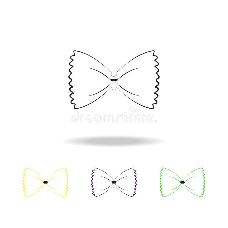 iconos multicolores del esquema de la mariposa de los macarrones Iconos multicolores del esquema del elemento de los espaguetis L stock de ilustración