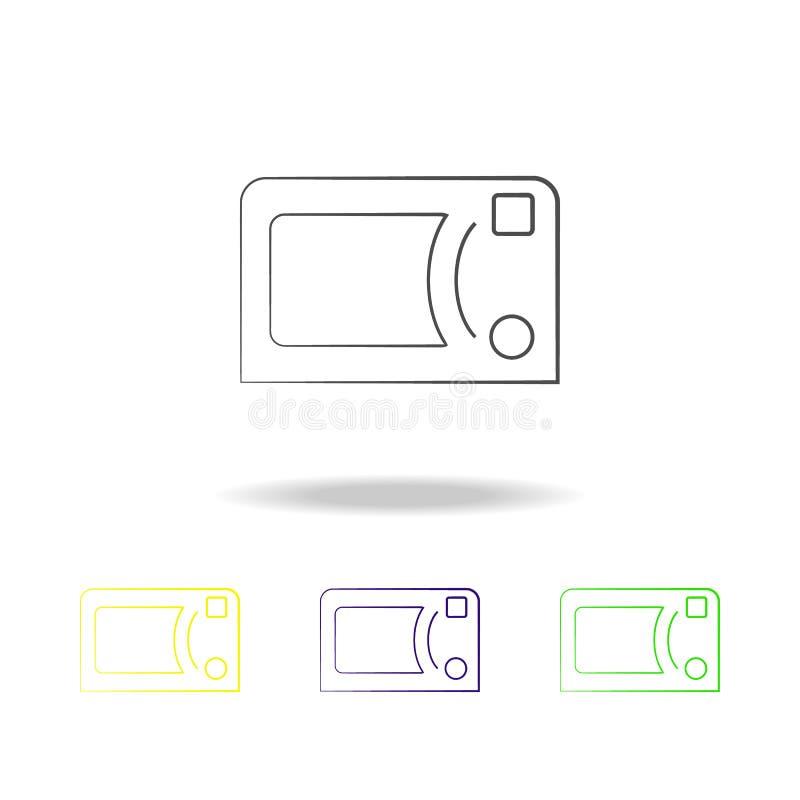 iconos multicolores del horno de microondas Elemento de los iconos multicolores de los dispositivos eléctricos Las muestras, icon stock de ilustración