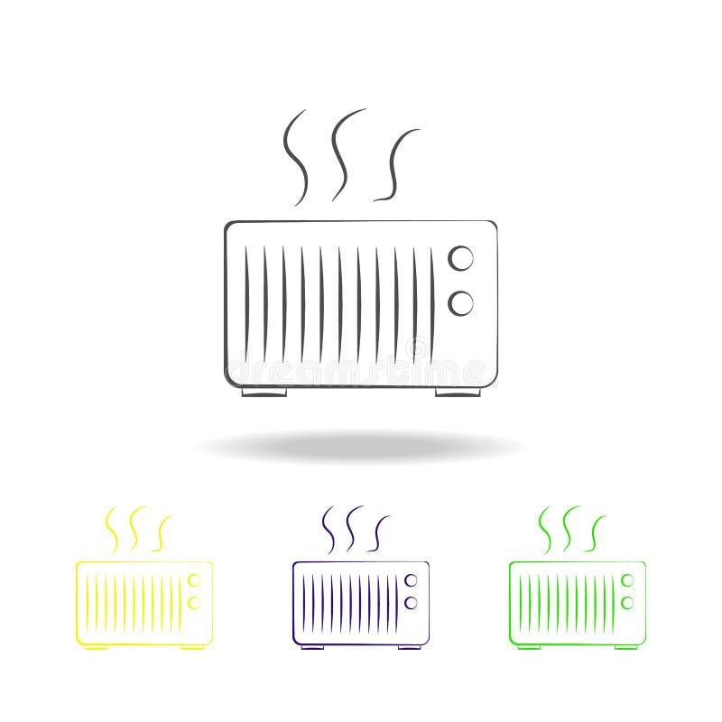 iconos multicolores del horno Elemento de los iconos multicolores de los dispositivos eléctricos Las muestras, icono de la colecc stock de ilustración