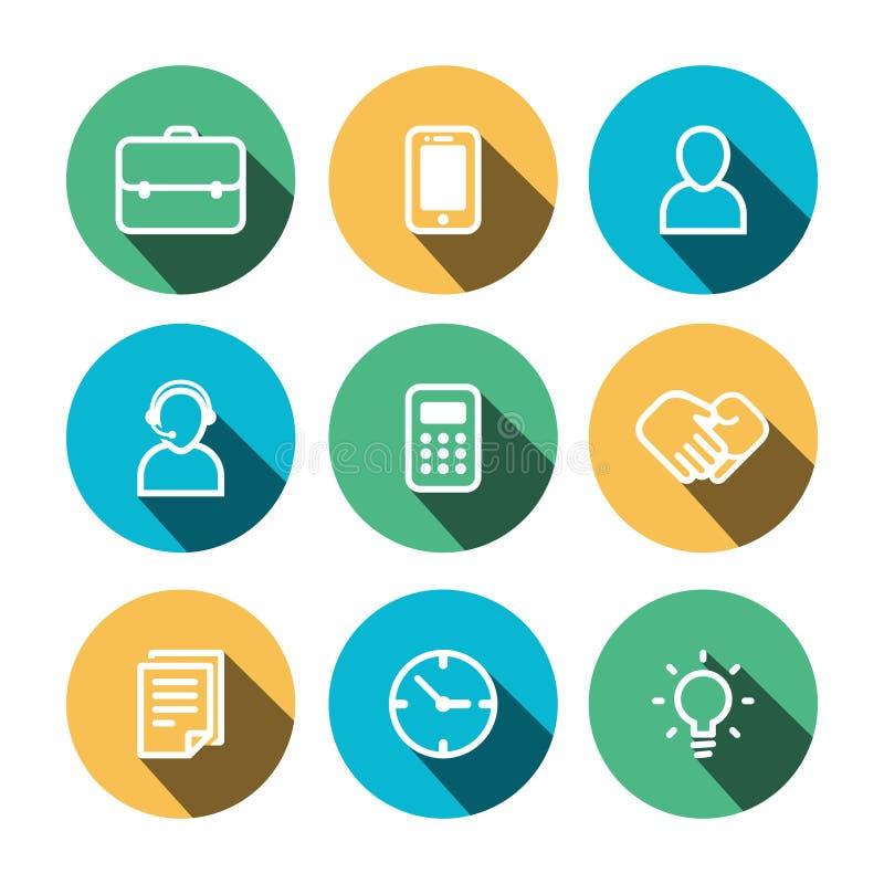 Iconos multicolores del negocio plano del vector fijados ilustración del vector