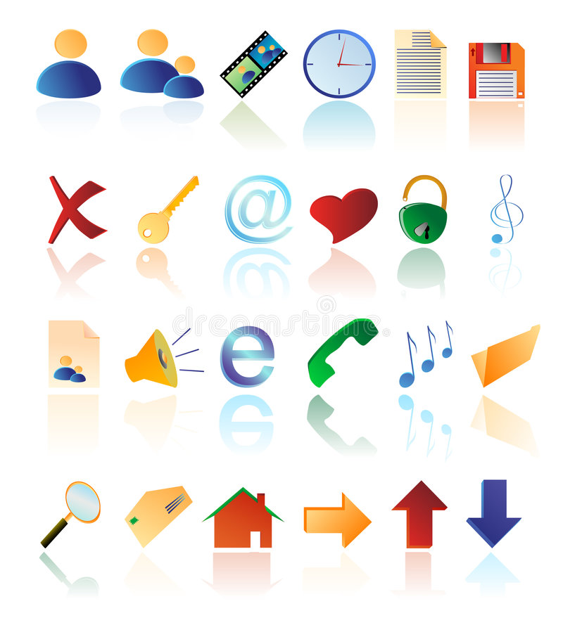 Iconos multicolores del vector stock de ilustración