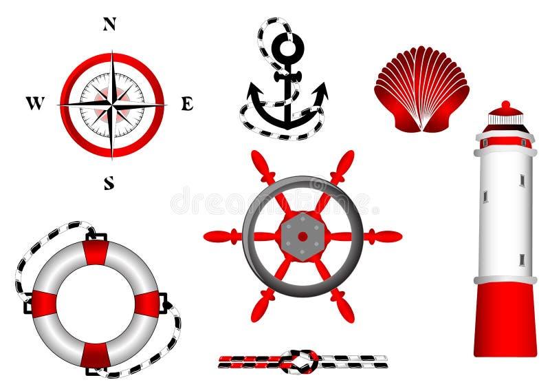 Iconos náuticos fijados para el diseño ilustración del vector