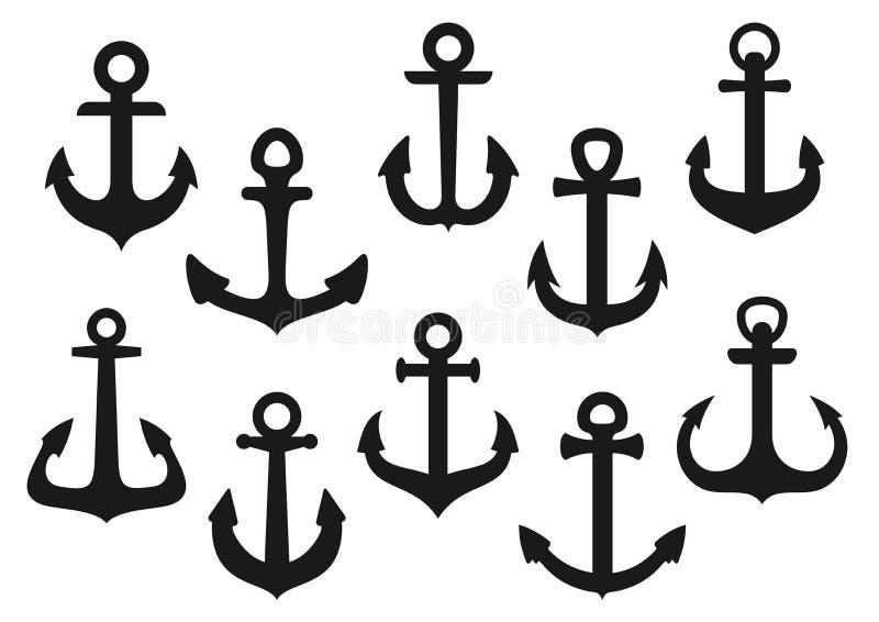 Iconos náuticos negros heráldicos del ancla fijados ilustración del vector