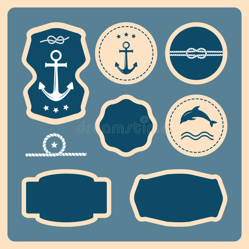 Iconos náuticos y del mar, insignias y etiquetas libre illustration