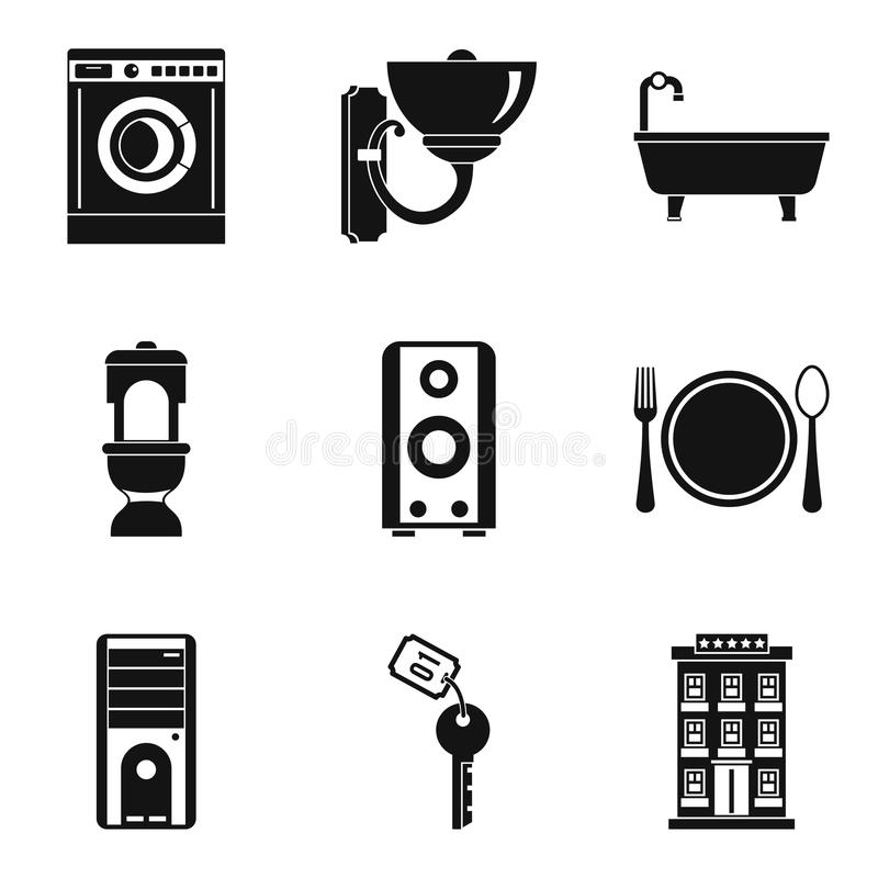 Iconos nacionales fijados, estilo simple del trabajo stock de ilustración