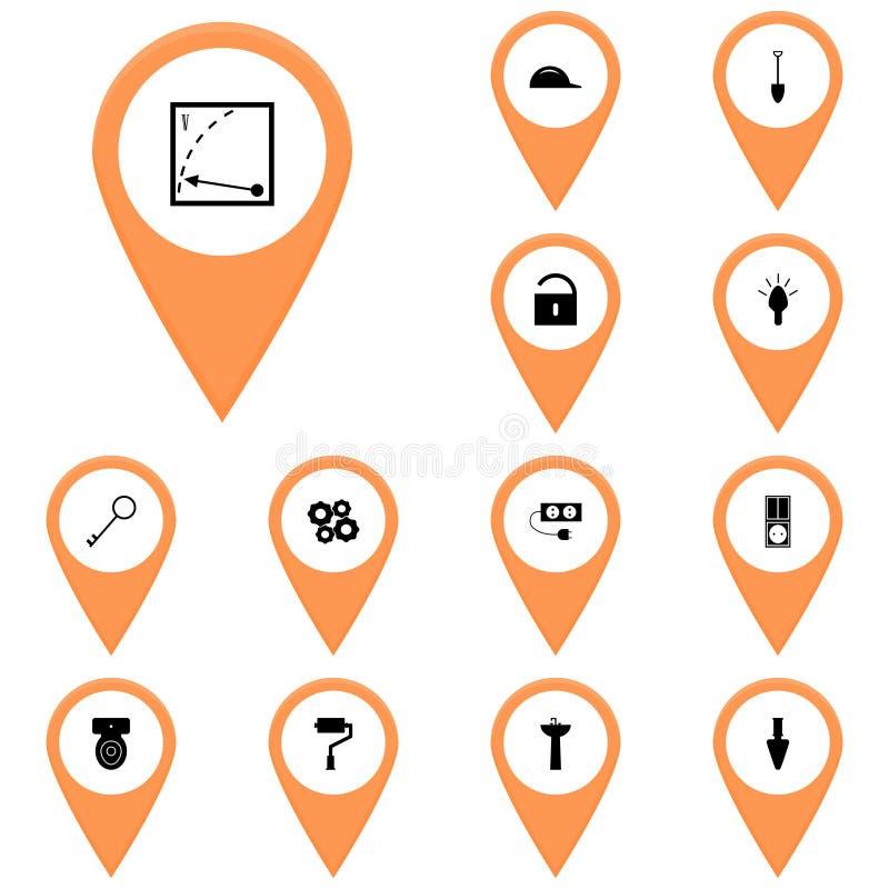 Iconos naranja, reclamo, mapa/voltímetro determinado del icono del instrumento del icono del vector, ilustración del vector