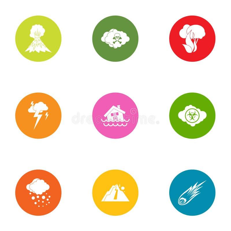 Iconos naturales fijados, estilo plano de la intervención stock de ilustración