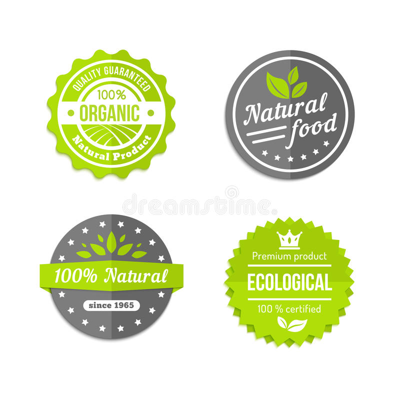 Iconos naturales y del eco orgánicos de la comida fijados stock de ilustración