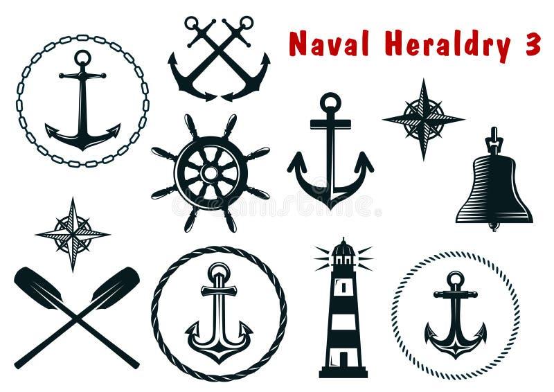 Iconos navales de la heráldica fijados libre illustration