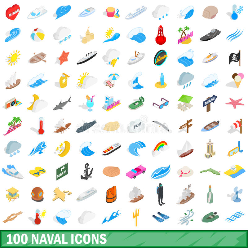 100 iconos navales fijados, estilo isométrico 3d libre illustration