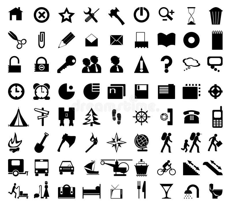 Iconos negros ilustración del vector